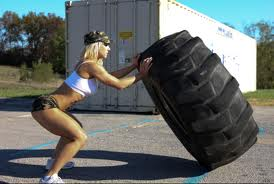 Do you think I'll look like this when I flip tires? Oh, wait! I have brown hair!!