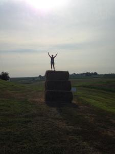 This is me on top of the world...or a stack of hay bales.